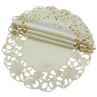 Xia Home Fashions Daisy Lace Embroidered Cutwork Round Doily (Set of 4); 12''