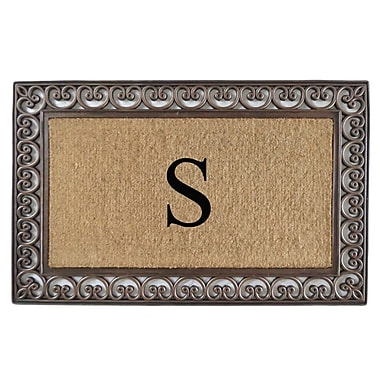 A1 Home Collections LLC Classic Monogrammed Paisley Border Double Doormat; S