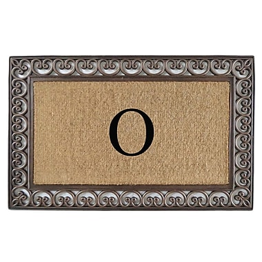A1 Home Collections LLC Classic Monogrammed Paisley Border Double Doormat; O