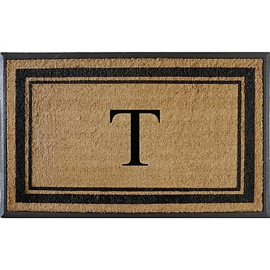A1 Home Collections LLC First Impression Markham Border Doubledoor Monogrammed Doormat; T