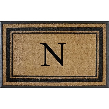 A1 Home Collections LLC First Impression Markham Border Doubledoor Monogrammed Doormat; N