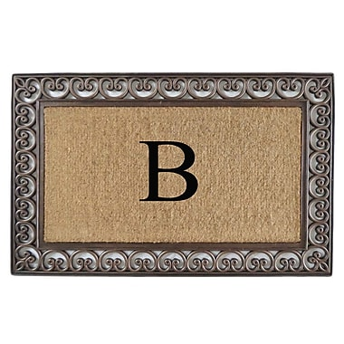 A1 Home Collections LLC Classic Monogrammed Paisley Border Double Doormat; B