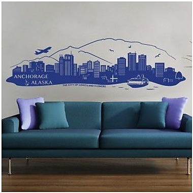 Style and Apply Anchorage Alaska Skyline Wall Decal; Royal Blue