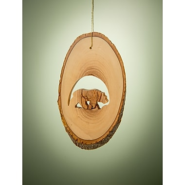 EarthwoodLLC Olive Wood Ornament w/ Grizzly Bear