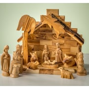 EarthwoodLLC Olive Wood Stable w/ Traditional Nativity Collectible Set