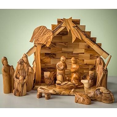 EarthwoodLLC Olive Wood Stable w/ Modern Nativity Figurine Set
