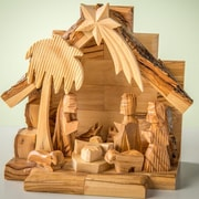 EarthwoodLLC Olive Wood Nativity Set w/ Carved Figures