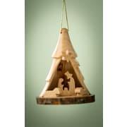 EarthwoodLLC Olive Wood Bark 3D Tree w/ Nativity Ornament