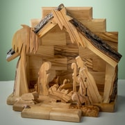 EarthwoodLLC Olive Wood Nativity Set w/ Silhouette Figures
