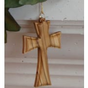 EarthwoodLLC Olive Wood Routered Flared Cross Ornament