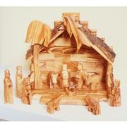 EarthwoodLLC Olive Wood Stable w/ 12 Piece Nativity Figurine Set