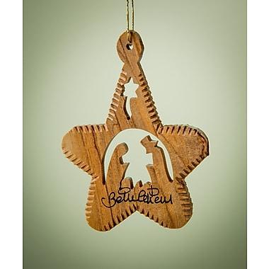 EarthwoodLLC Olive Wood Star Ornament w/ Notched Edge