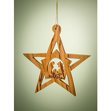 EarthwoodLLC Olive Wood Star w/ Stable and Nativity Ornament