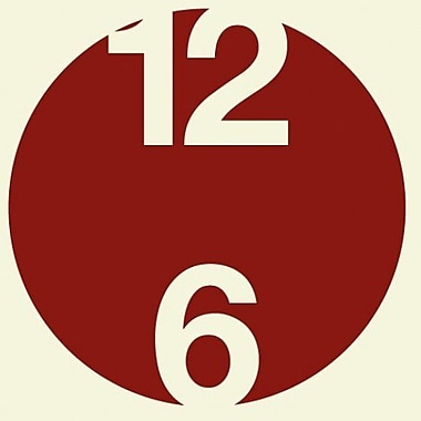 Style and Apply 12 And 6 Wall Clock Wall Decal; Dark Red