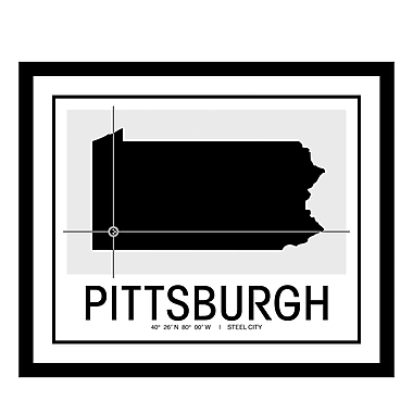 ReplayPhotos 'Pittsburgh Map' Framed Graphic Art