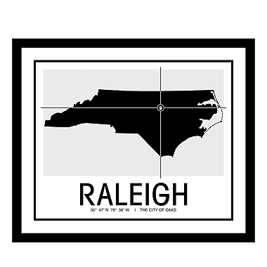 ReplayPhotos 'Raleigh Map' Framed Graphic Art