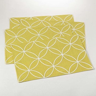 Saro Leonora Stitched Tile Design Placemat (Set of 4); Chartreuse