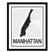 ReplayPhotos 'Manhattan Map' Framed Graphic Art