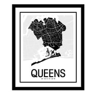 ReplayPhotos 'Queens Map' Framed Graphic Art