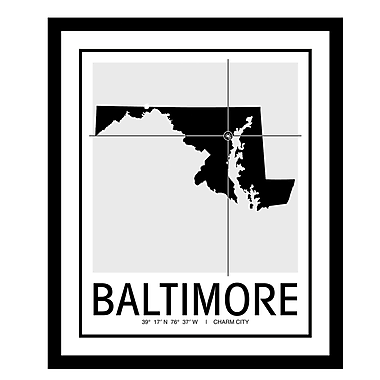 ReplayPhotos 'Baltimore Map' Framed Graphic Art