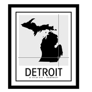 ReplayPhotos 'Detroit Map' Framed Graphic Art