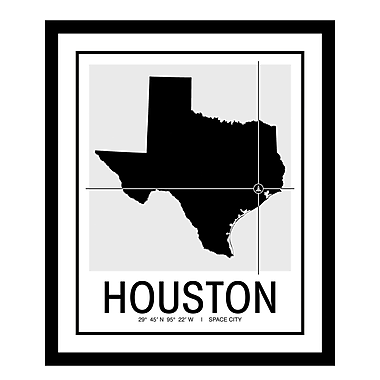 ReplayPhotos 'Houston Map' Framed Graphic Art