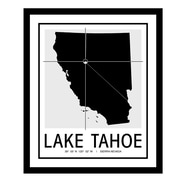 ReplayPhotos 'Lake Tahoe Map' Framed Graphic Art