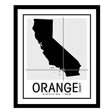 ReplayPhotos 'Orange County Map' Framed Graphic Art