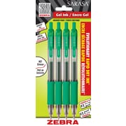 Zebra Sarasa Rapid Dry Gel Pens, Retractable, 0.7mm, Green, 4/Pack (46884STP)
