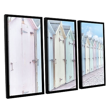 ArtWall 'Sea Side Beach Cabins I' by Cora Niele 3 Piece Graphic Art Set; 24'' H x 36'' W x 2'' D
