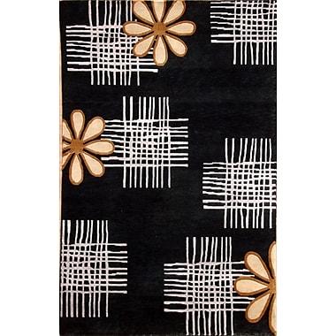 Wildon Home Soho Hand-Knotted Black/Ivory Area Rug; 8' x 10'