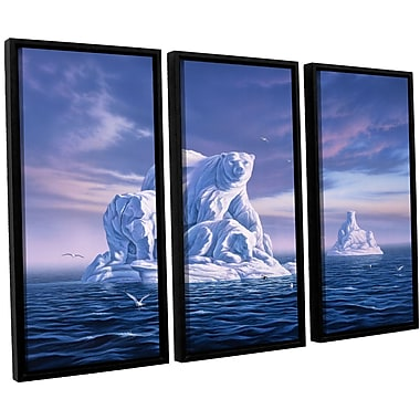 ArtWall 'Iceberg' by Jerry Lofaro 3 Piece Framed Graphic Art on Canvas Set; 36'' H x 54'' W x 2'' D