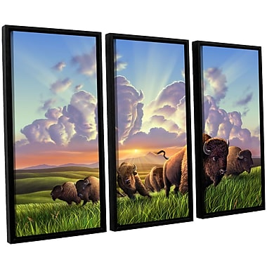 ArtWall 'Stamped' by Jerry Lofaro 3 Piece Framed Graphic Art on Wrapped Canvas Set