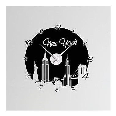 Style and Apply New York Wall Clock Wall Decal; Black