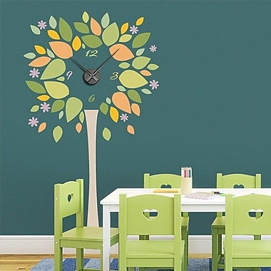 Style and Apply Tree Wall Clock Wall Decal; Turquoise