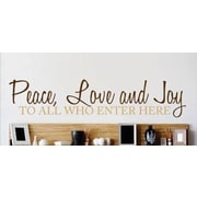 Design With Vinyl Peace, Love and Joy to All Who Enter Here Welcome Sign Wall Decal