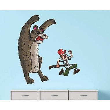 Design With Vinyl Animated Bear Running Fearing Man w/ Rifle Wall Decal