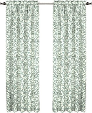 Traditions by Waverly Duncan Damask Room Darkening Rod Pocket Single Curtain Panel; Spa