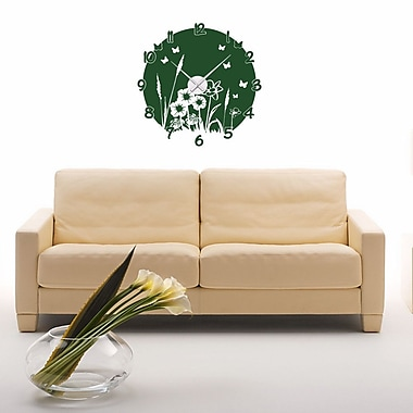 Style and Apply Meadow Wall Clock Wall Decal; Dark Green