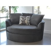 Red Barrel Studio Roquefort Cuddler Chair and a Half; Grey