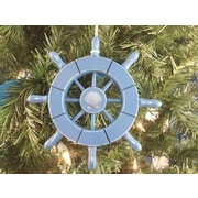 Handcrafted Nautical Decor 6'' Decorative Ship Wheel w/ Seashell Christmas Tree Ornament; Light Blue