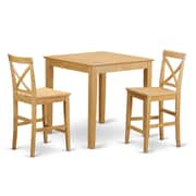 East West 3 Piece Counter Height Dining Set; Oak