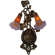 Meyda Tiffany 2 Light Pond Lily Wall Sconce; Amber / Purple