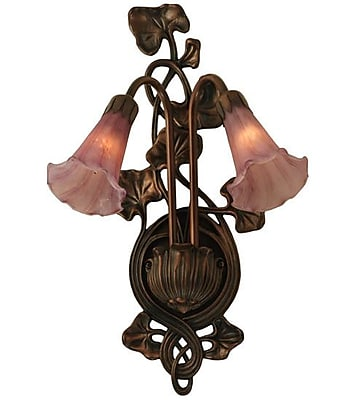 Meyda Tiffany 2 Light Pond Lily Wall Sconce; Lavender