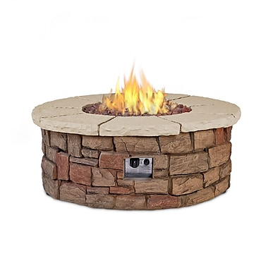 Real Flame Sedona Fiber Cast Concrete Propane Outdoor Fireplace