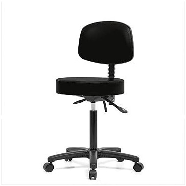 Perch Chairs & Stools Height Adjustable Doctor Stool; Black Fabric