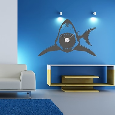 Style and Apply Shark Wall Clock Wall Decal; Brown