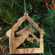 EarthwoodLLC Olive Wood Stable Ornament w/ Angel
