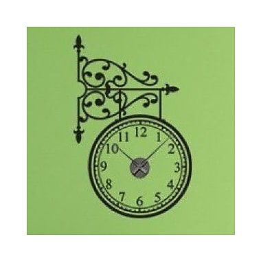 Style and Apply Train Station Wall Clock Wall Decal; Dark Green
