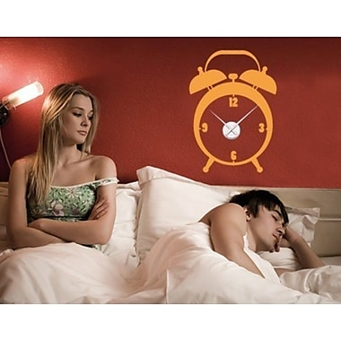 Style and Apply Alarm Wall Clock Wall Decal; Orange